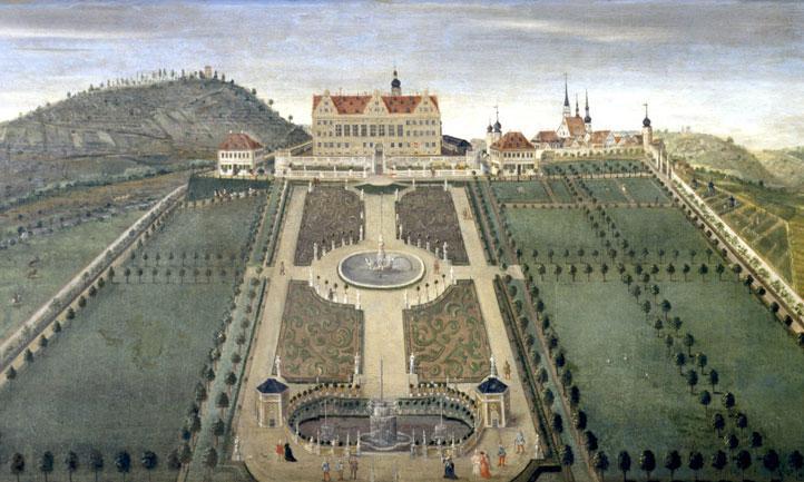 Der Weikersheimer Schlossgarten auf einem Lambrisbild im Rittersaal von Schloss Weikersheim; Staatliche Schlösser und Gärten Baden-Württemberg, Arnim Weischer