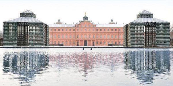 Gartenansicht Residenzschloss Rastatt mit See im Winter
