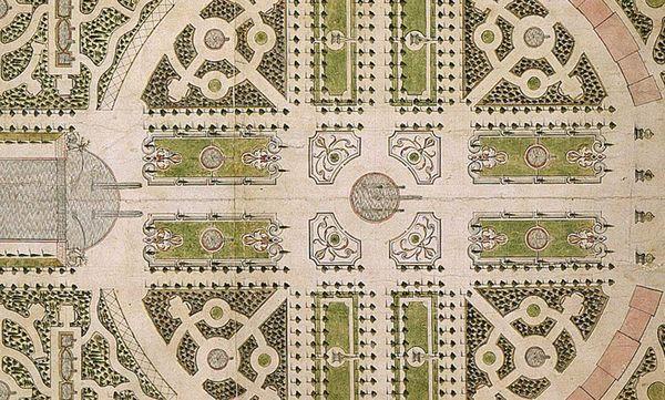 Historische Ansicht des Gartenplans von Hofgärtner Johann Ludwig Petri, 1753